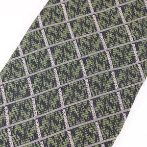 Giorgio Armani Vtg Tie Gray & Green Geometric, EUC